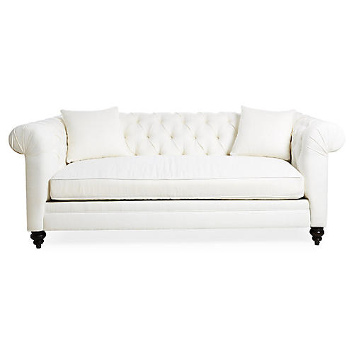 Rockport Chesterfield Sofa, Ivory Linen