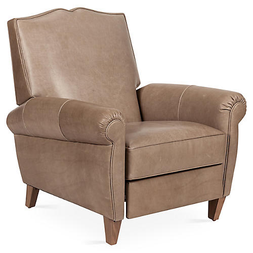 Hartford Club Recliner, Pewter Leather