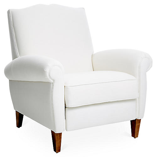 Hartford Club Recliner, White Linen
