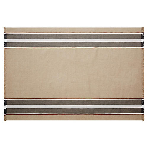 Brimfield Stripe Rug, Flax/Brown