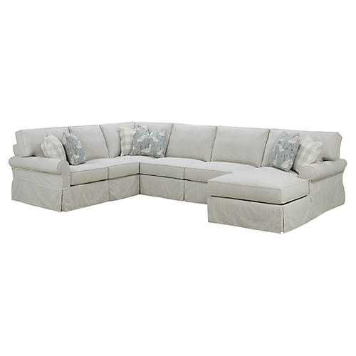Easton Slipcovered Sectional, Gray