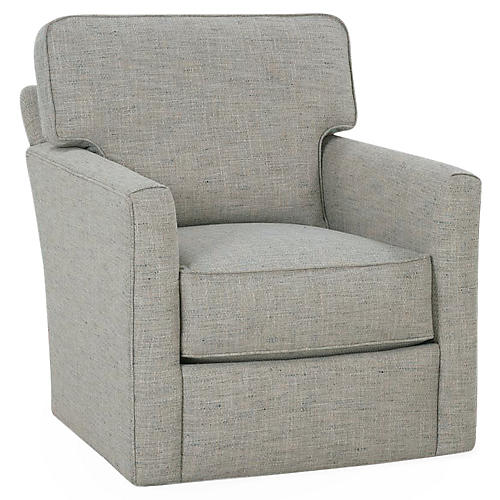 Evan Swivel Club Chair, Ice Blue