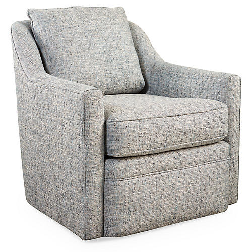 Anouk Swivel Club Chair, Ice Blue