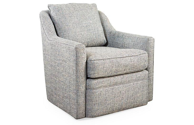 Chelsea Swivel Chair, Ice Blue