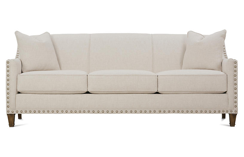 Tightback Nail-Head Sofa, Beige