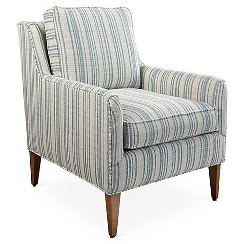 Noah Accent Chair, Blue Stripe