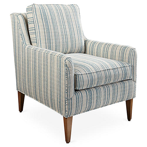 Noah Accent Chair, Blue Stripe