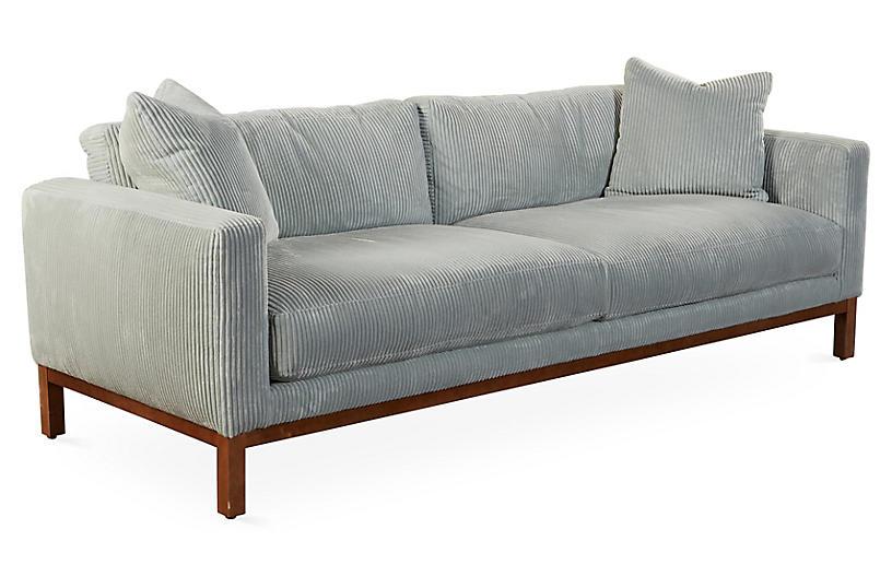 Butler 93 sofa seafoam velvet sofas settees living for Sofa butler