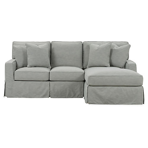 Rathel Right-Facing Sectional, Greige Crypton
