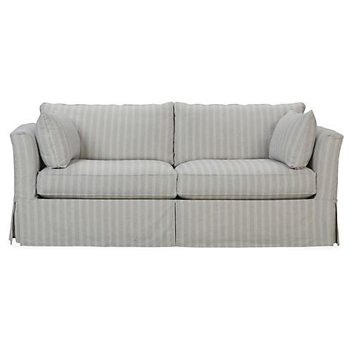 Bernadette Slipcover Sofa, Navy/Ivory