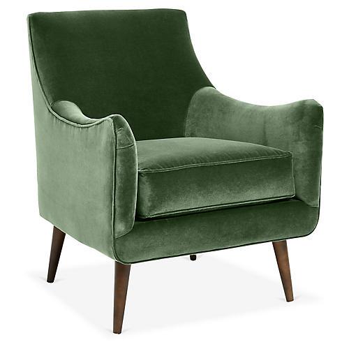 Oliver Accent Chair, Emerald Velvet