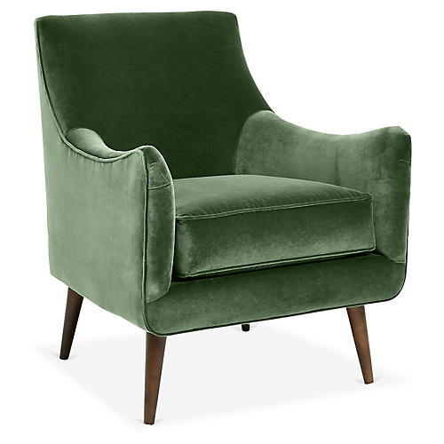 Oliver Accent Chair, Emerald Velvet