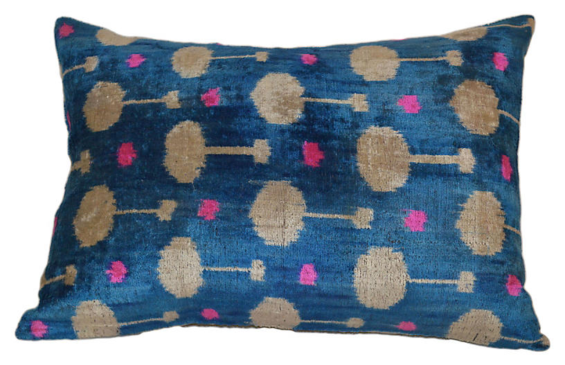 Mavinaz 16x24 Ikat Pillow, Blue