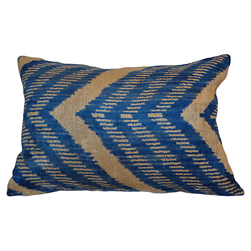 Pia Ikat 16x24 Pillow, Blue