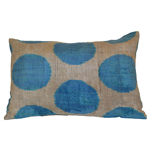 Tonia Ikat 16x24 Pillow, Blue