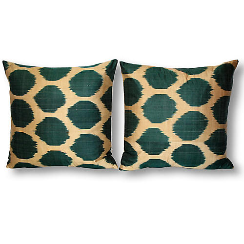 S/2 Gio 18x18 Ikat Pillows, Green/Multi