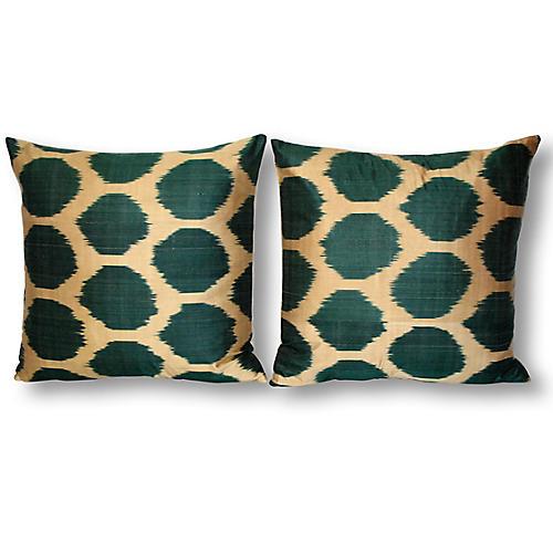 S/2 Gio 18x18 Ikat Pillows, Green/Multi