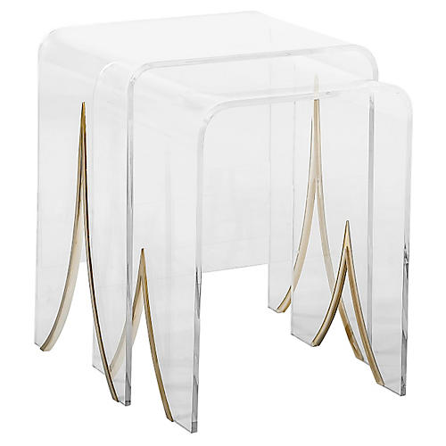 S/2 Magnolia Nesting Tables, Clear