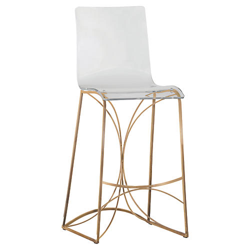 Angel Acrylic Barstool, Gold