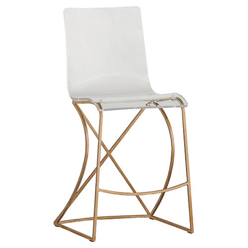 Johnson Acrylic Counter Stool, Gold