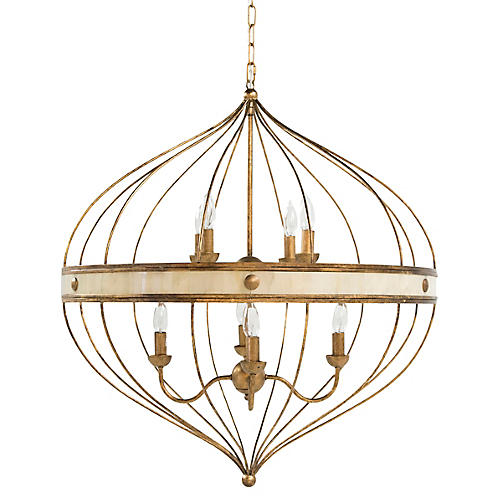 Sasha Chandelier, Antiqued Gold