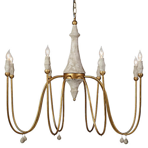 Clay Chandelier, Distressed Ivory