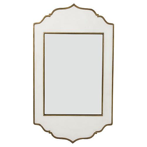 Villa Wall Mirror, White/Brass