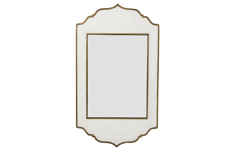 Villa Wall Mirror, White/Brass