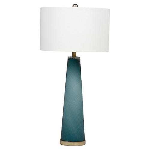 Brianna Table Lamp, Blue/Silver