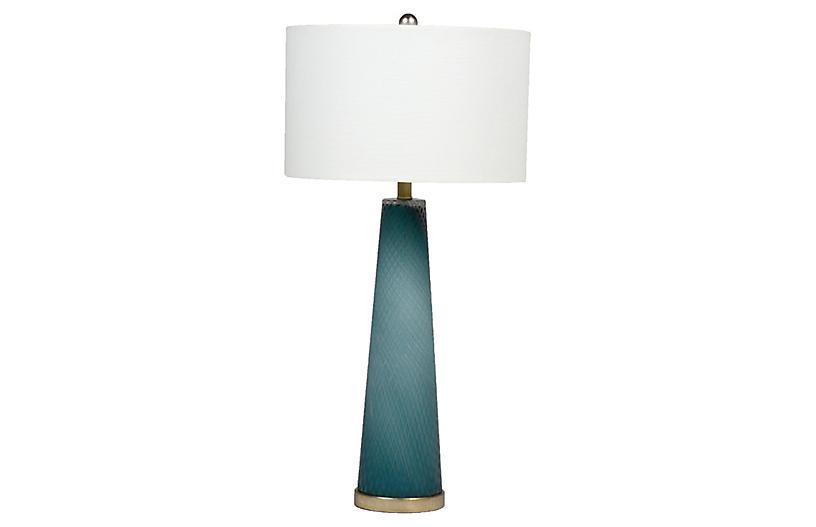Brianna Table Lamp, Blue/Silver
