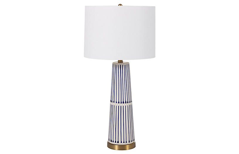 Sophie Table Lamp, Navy/White