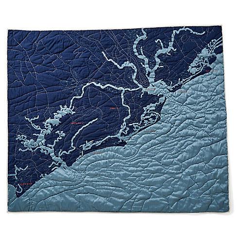 Charleston Cotton Quilt, Navy/Blue