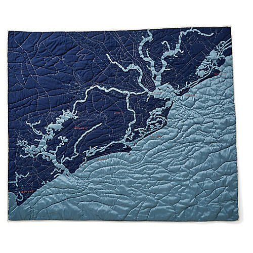 Charleston Cotton Quilt, Navy/Blue