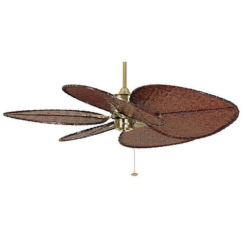 Islander Ceiling Fan, Antiqued Brass