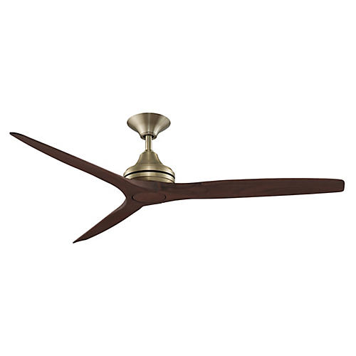Spitfire Ceiling Fan, Satin Brass