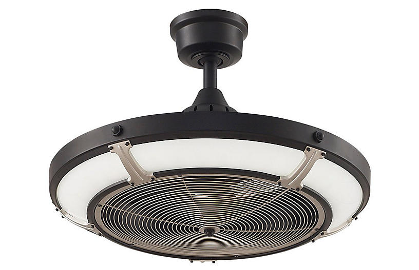 Pickett Drum Ceiling Fan, Black/Nickel