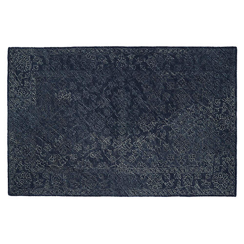 Diminuendo Wool Rug, Denim Blue