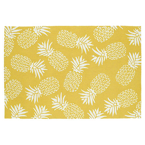 Pineapple Outdoor Rug, Gold