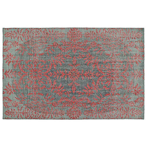 Talarik Hand-Knotted Rug, Red/Gray