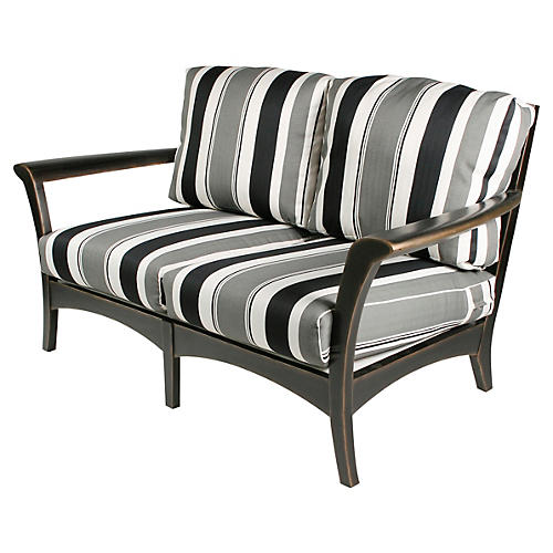 "Eden 62"" Loveseat, Gray/White/Black"