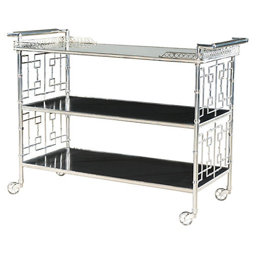 Cheers Mirrored Bar Cart, Silver