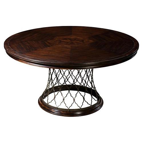 "Pula 60"" Round Dining Table, Dark Brown"
