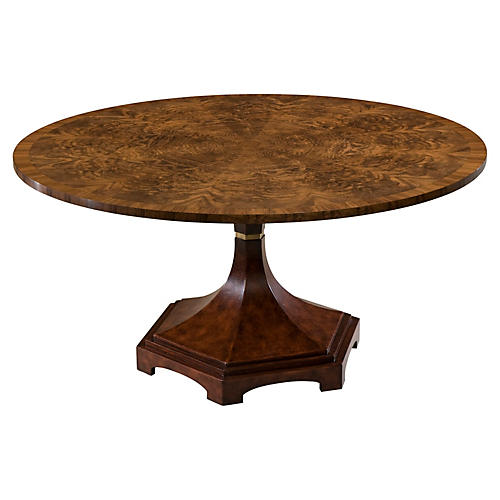 """Emmeline 60"""" Round Leather Table, Brown"""