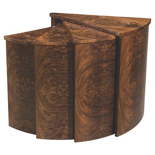 Slice Hinged Nesting Tables, Dark Brown