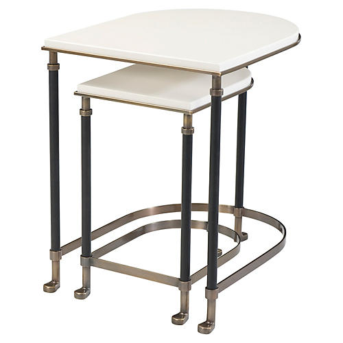 Torrance Leather Nesting Tables, White