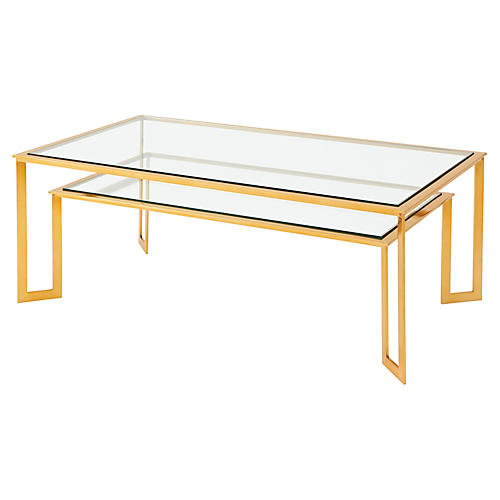Mendosa Coffee Table, Polished Brass