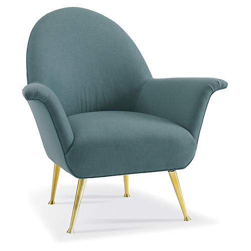 Barrett Accent Chair, Teal/Brass