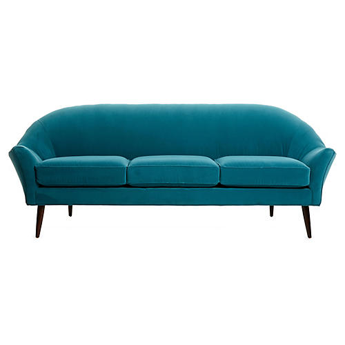 Blair Modern Sofa, Peacock Velvet
