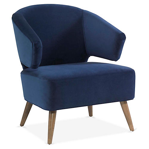 Zoey Accent Chair, Royal Blue Velvet