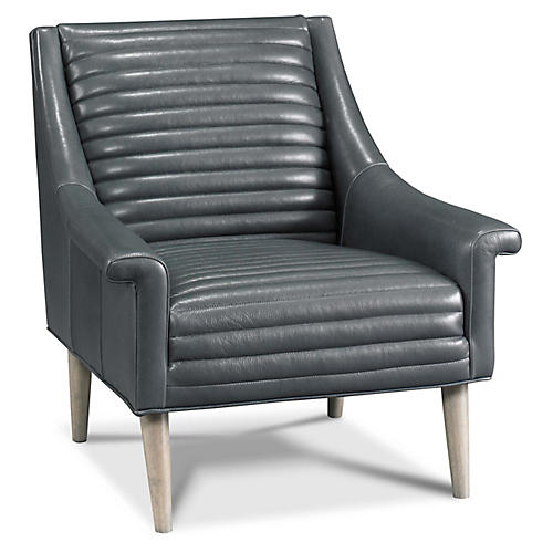 Mason Accent Chair, Charcoal Leather